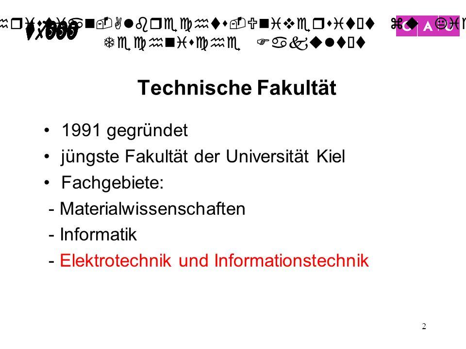 Christian-Albrechts-Universität zu Kiel Technische Fakultät 2 1991 gegründet jüngste Fakultät der Universität Kiel Fachgebiete: - Materialwissenschaft