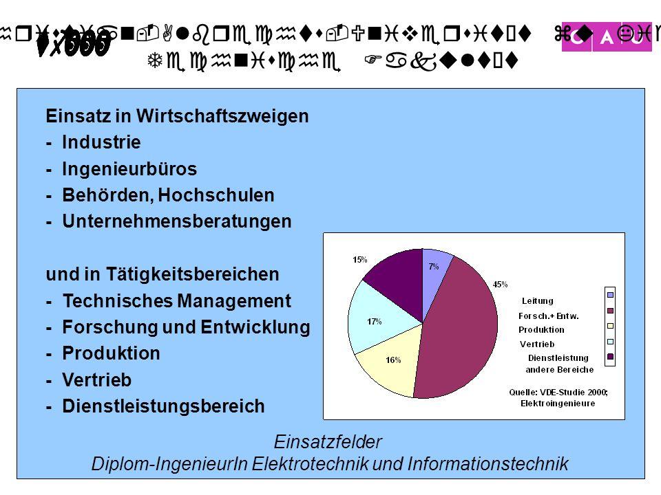 Christian-Albrechts-Universität zu Kiel Technische Fakultät 22 Einsatzfelder Diplom-IngenieurIn Elektrotechnik und Informationstechnik Einsatz in Wirt
