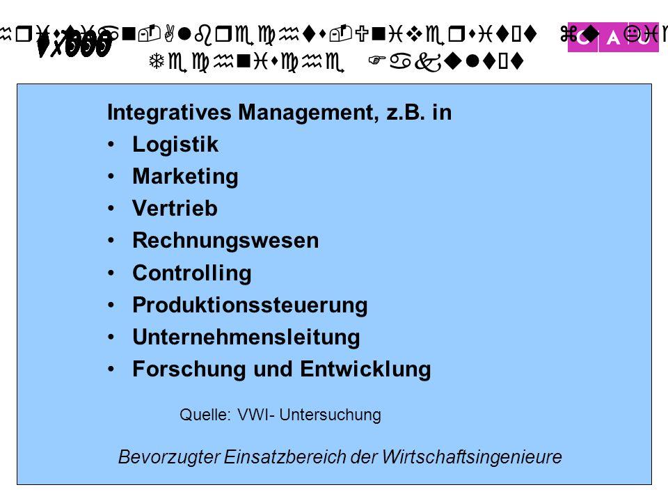Christian-Albrechts-Universität zu Kiel Technische Fakultät 23 Bevorzugter Einsatzbereich der Wirtschaftsingenieure Integratives Management, z.B. in L