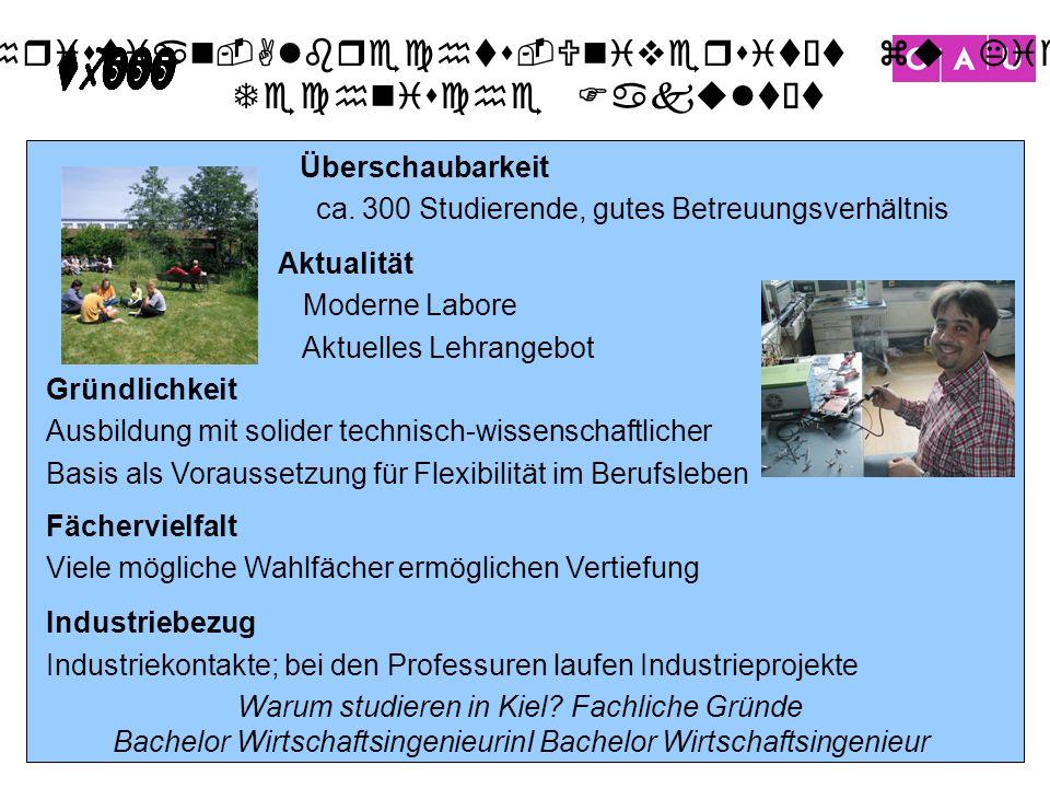 Christian-Albrechts-Universität zu Kiel Technische Fakultät 27 Warum studieren in Kiel? Fachliche Gründe Bachelor WirtschaftsingenieurinI Bachelor Wir