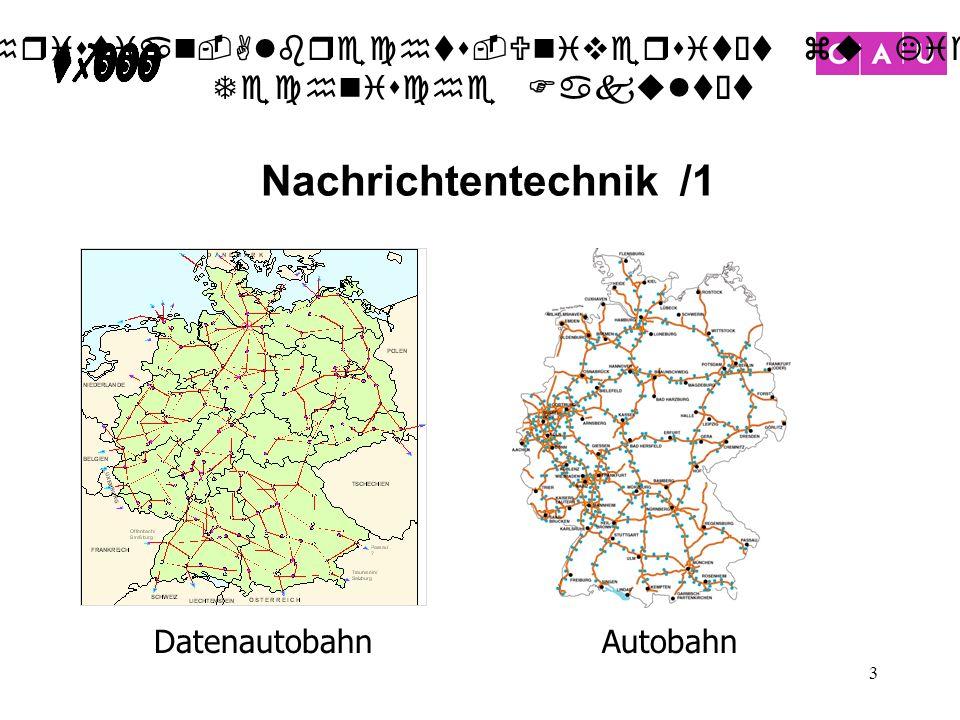 Christian-Albrechts-Universität zu Kiel Technische Fakultät 3 Nachrichtentechnik /1 Autobahn Datenautobahn