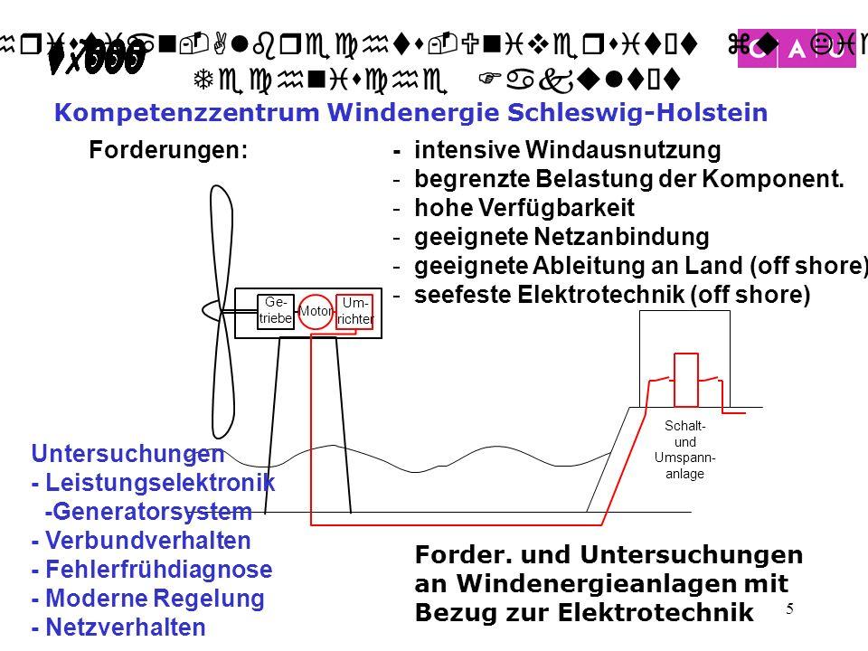 Christian-Albrechts-Universität zu Kiel Technische Fakultät 5 Forder. und Untersuchungen an Windenergieanlagen mit Bezug zur Elektrotechnik - intensiv