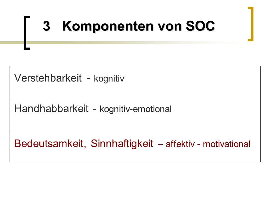3 Komponenten von SOC Verstehbarkeit - kognitiv Handhabbarkeit - kognitiv-emotional Bedeutsamkeit, Sinnhaftigkeit – affektiv - motivational