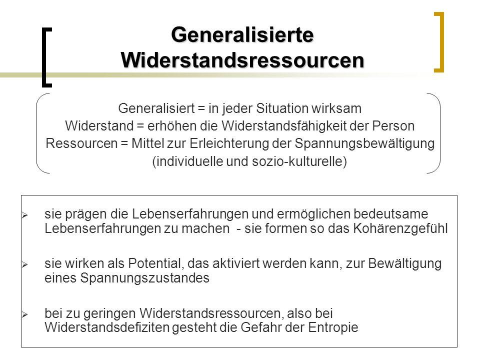Generalisierte Widerstandsressourcen Generalisiert = in jeder Situation wirksam Widerstand = erhöhen die Widerstandsfähigkeit der Person Ressourcen =