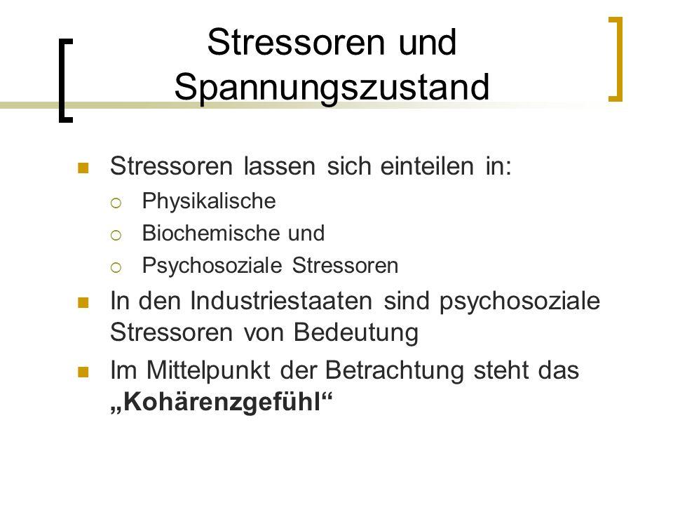 Stressoren und Spannungszustand Stressoren lassen sich einteilen in: Physikalische Biochemische und Psychosoziale Stressoren In den Industriestaaten s