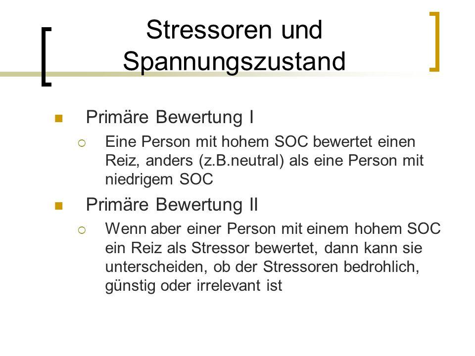 Stressoren und Spannungszustand Primäre Bewertung I Eine Person mit hohem SOC bewertet einen Reiz, anders (z.B.neutral) als eine Person mit niedrigem
