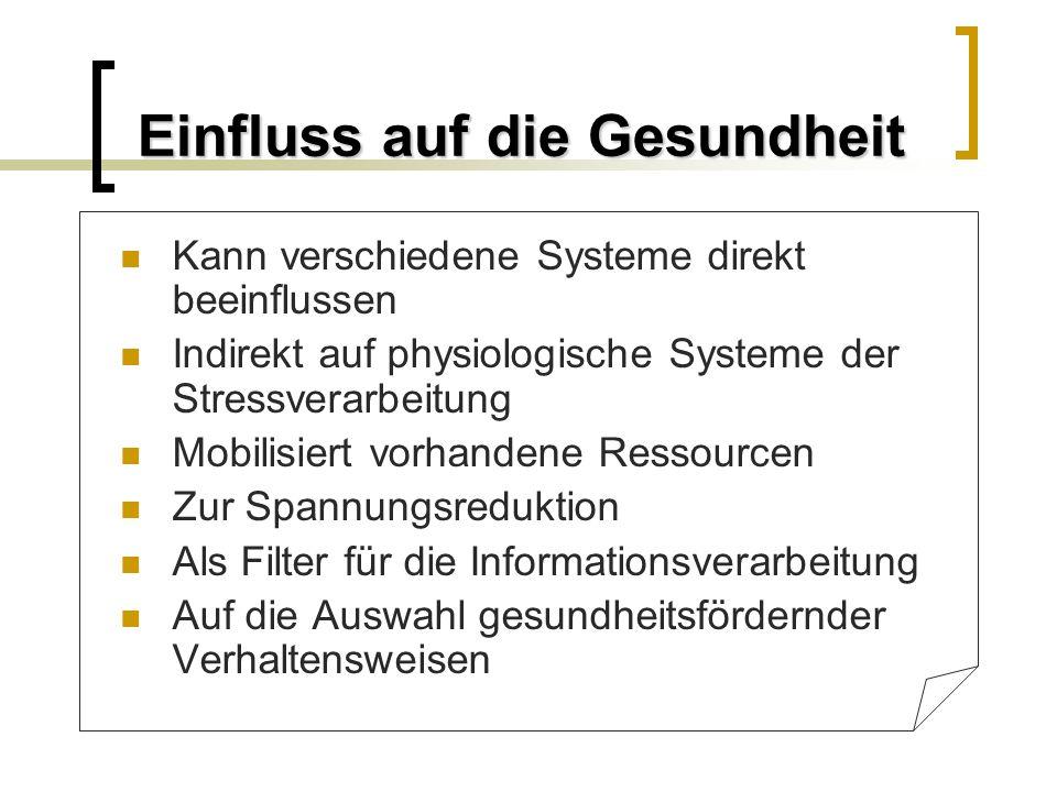 Einfluss auf die Gesundheit Kann verschiedene Systeme direkt beeinflussen Indirekt auf physiologische Systeme der Stressverarbeitung Mobilisiert vorha