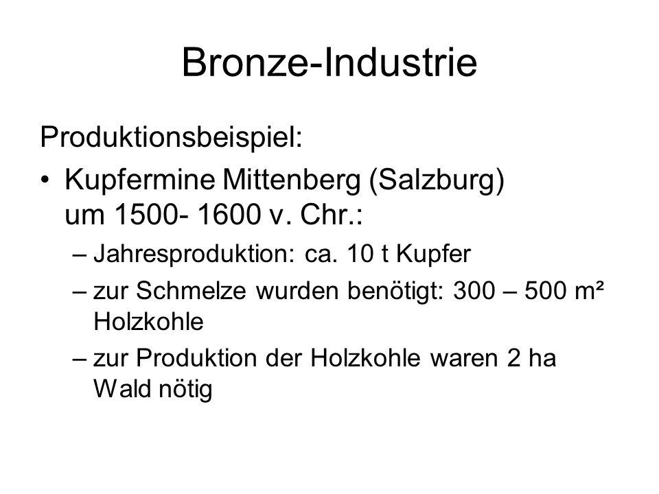 Bronze-Industrie Produktionsbeispiel: Kupfermine Mittenberg (Salzburg) um 1500- 1600 v. Chr.: –Jahresproduktion: ca. 10 t Kupfer –zur Schmelze wurden