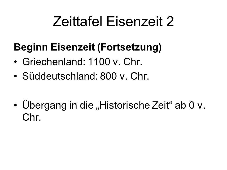 Zeittafel Eisenzeit 2 Beginn Eisenzeit (Fortsetzung) Griechenland: 1100 v. Chr. Süddeutschland: 800 v. Chr. Übergang in die Historische Zeit ab 0 v. C