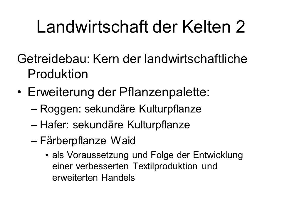 Landwirtschaft der Kelten 2 Getreidebau: Kern der landwirtschaftliche Produktion Erweiterung der Pflanzenpalette: –Roggen: sekundäre Kulturpflanze –Ha
