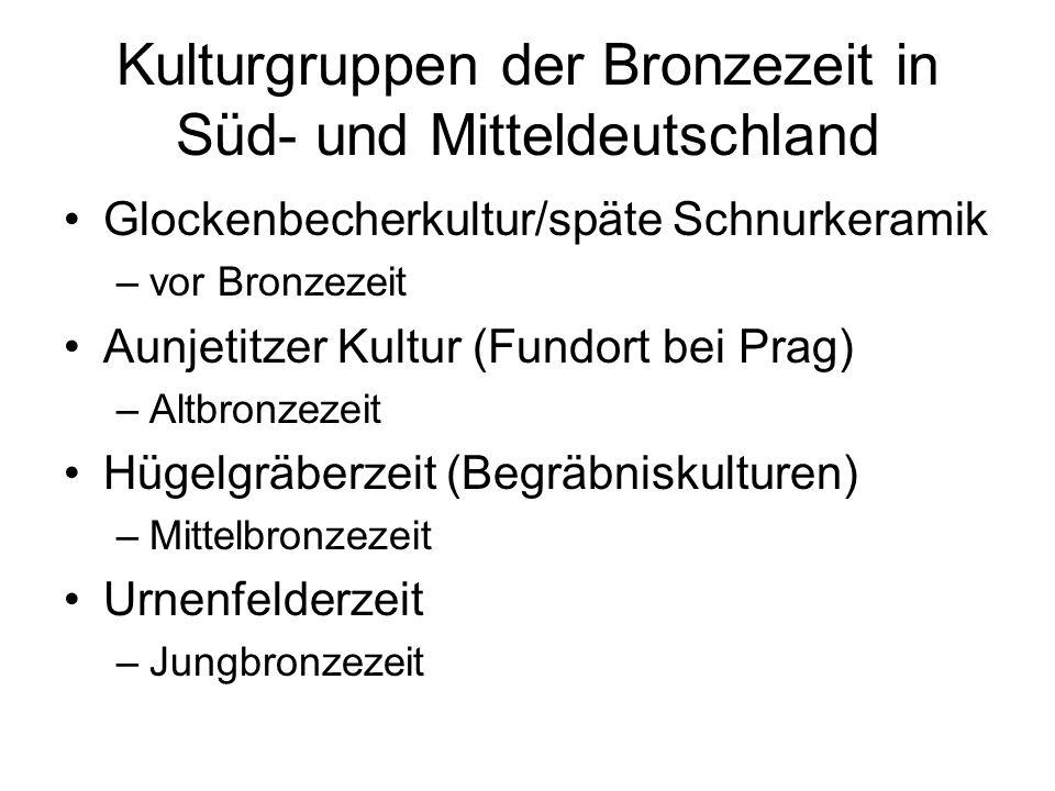 Kulturgruppen der Bronzezeit in Süd- und Mitteldeutschland Glockenbecherkultur/späte Schnurkeramik –vor Bronzezeit Aunjetitzer Kultur (Fundort bei Pra