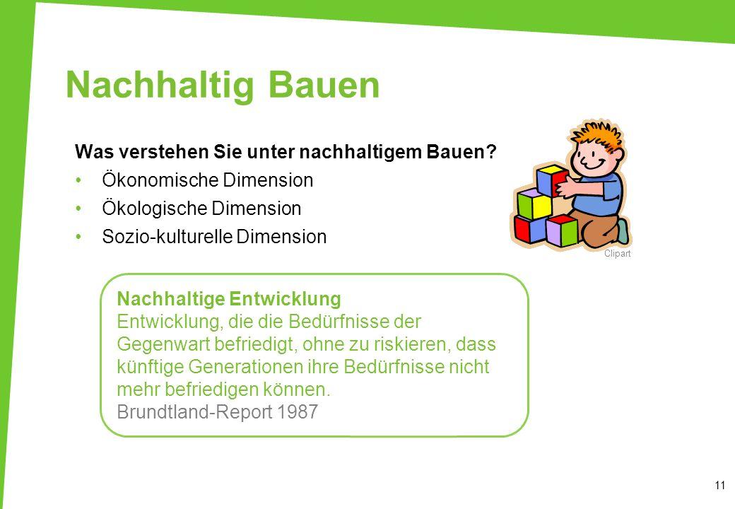 Nachhaltig Bauen Was verstehen Sie unter nachhaltigem Bauen? Ökonomische Dimension Ökologische Dimension Sozio-kulturelle Dimension 11 Clipart Nachhal