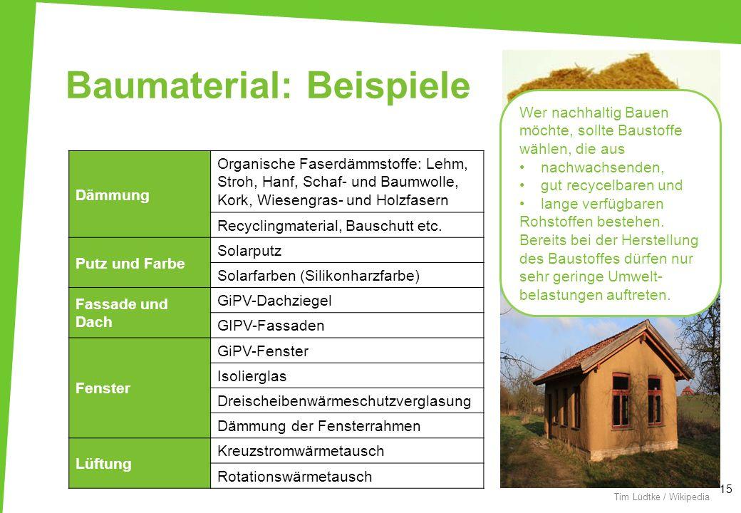 Baumaterial: Beispiele 15 thingermejig / Wikipedia Tim Lüdtke / Wikipedia Dämmung Organische Faserdämmstoffe: Lehm, Stroh, Hanf, Schaf- und Baumwolle,
