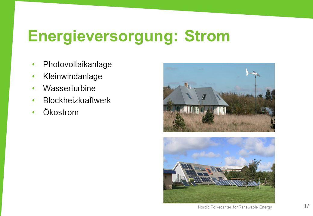 Energieversorgung: Strom Photovoltaikanlage Kleinwindanlage Wasserturbine Blockheizkraftwerk Ökostrom 17 Nordic Folkecenter for Renewable Energy