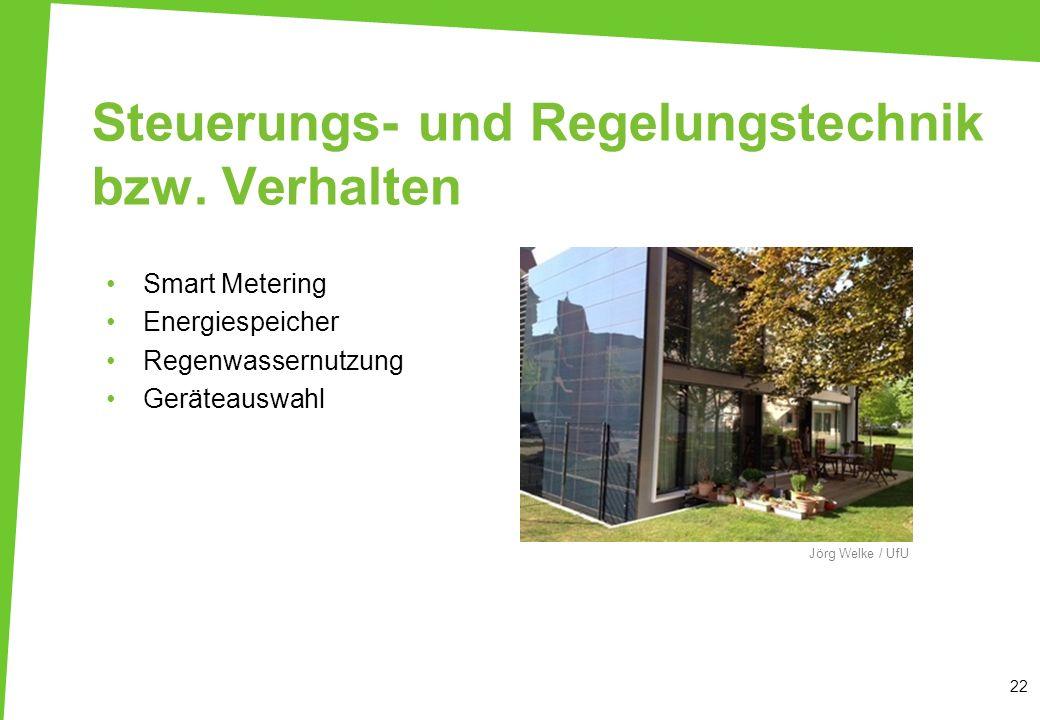Steuerungs- und Regelungstechnik bzw. Verhalten 22 Jörg Welke / UfU Smart Metering Energiespeicher Regenwassernutzung Geräteauswahl