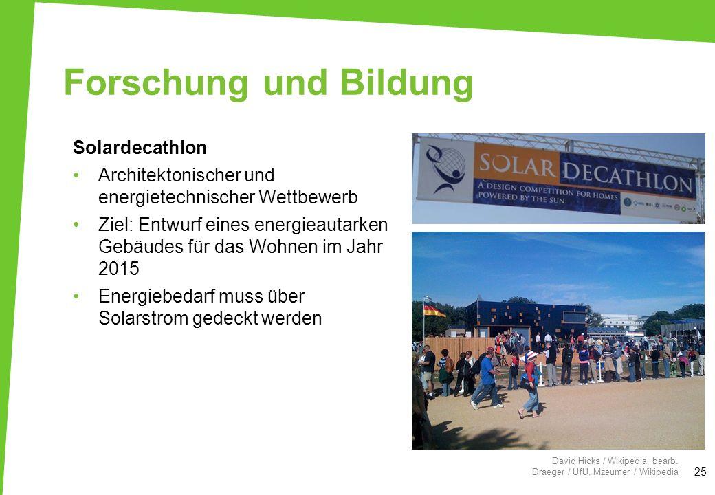 Forschung und Bildung Solardecathlon Architektonischer und energietechnischer Wettbewerb Ziel: Entwurf eines energieautarken Gebäudes für das Wohnen i