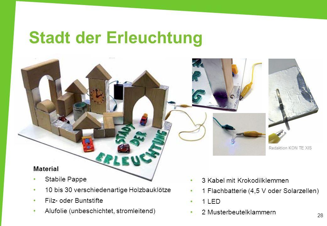 Stadt der Erleuchtung 28 Material Stabile Pappe 10 bis 30 verschiedenartige Holzbauklötze Filz- oder Buntstifte Alufolie (unbeschichtet, stromleitend)