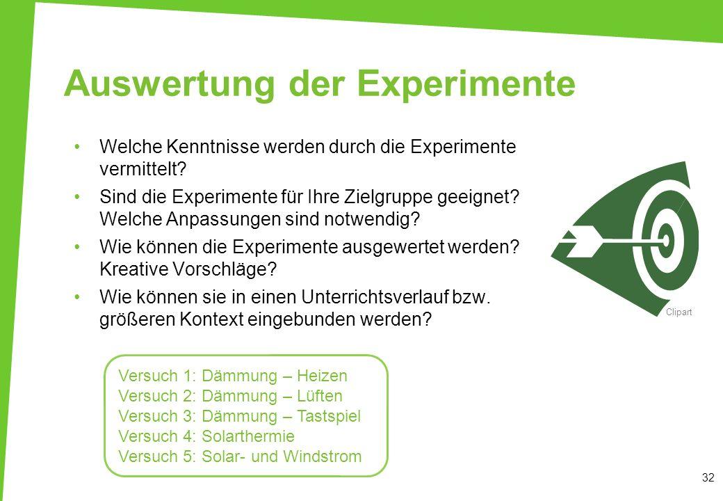Auswertung der Experimente Welche Kenntnisse werden durch die Experimente vermittelt? Sind die Experimente für Ihre Zielgruppe geeignet? Welche Anpass