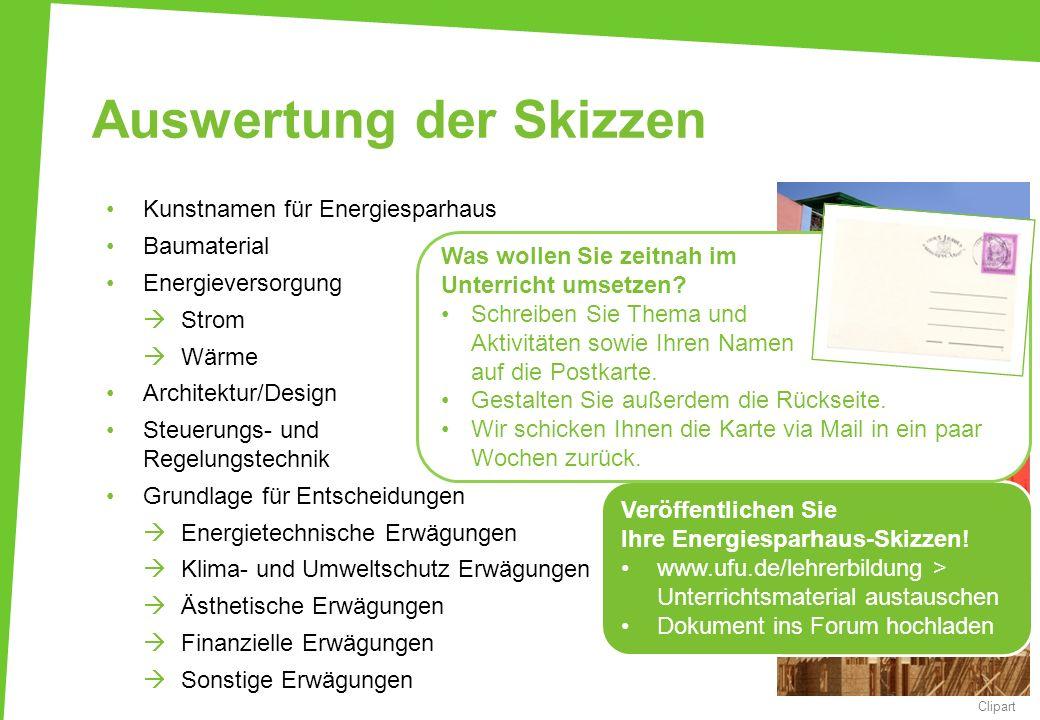 Auswertung der Skizzen Kunstnamen für Energiesparhaus Baumaterial Energieversorgung Strom Wärme Architektur/Design Steuerungs- und Regelungstechnik Gr