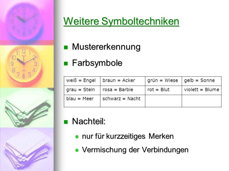 Weitere Symboltechniken Mustererkennung Mustererkennung Farbsymbole Farbsymbole Nachteil: Nachteil: nur für kurzzeitiges Merken nur für kurzzeitiges M