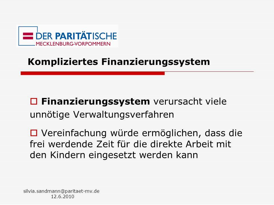 silvia.sandmann@paritaet-mv.de 12.6.2010 Kompliziertes Finanzierungssystem Finanzierungssystem verursacht viele unnötige Verwaltungsverfahren Vereinfa