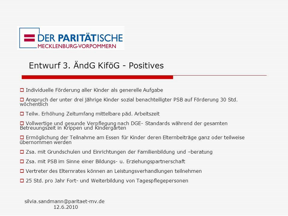 silvia.sandmann@paritaet-mv.de 12.6.2010 Entwurf 3. ÄndG KiföG - Positives Individuelle Förderung aller Kinder als generelle Aufgabe Anspruch der unte