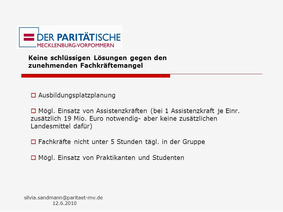 silvia.sandmann@paritaet-mv.de 12.6.2010 Keine schlüssigen Lösungen gegen den zunehmenden Fachkräftemangel Ausbildungsplatzplanung Mögl. Einsatz von A