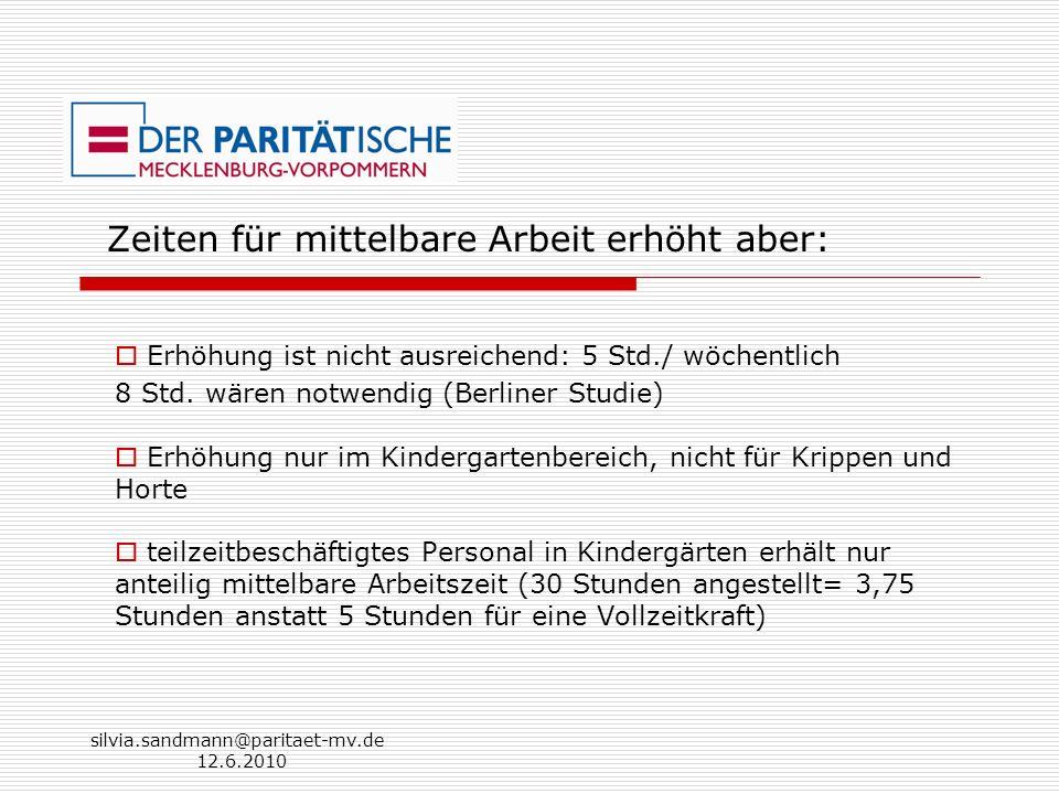 silvia.sandmann@paritaet-mv.de 12.6.2010 Zeiten für mittelbare Arbeit erhöht aber: Erhöhung ist nicht ausreichend: 5 Std./ wöchentlich 8 Std. wären no