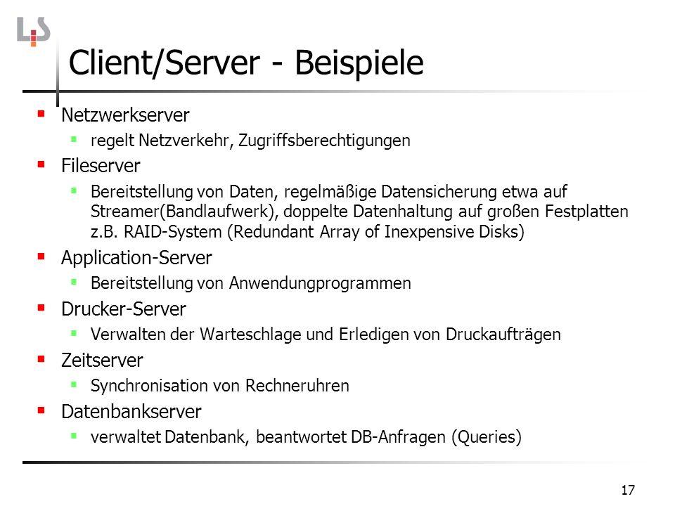 17 Netzwerkserver regelt Netzverkehr, Zugriffsberechtigungen Fileserver Bereitstellung von Daten, regelmäßige Datensicherung etwa auf Streamer(Bandlau