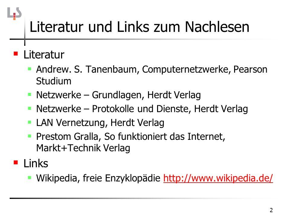 2 Literatur und Links zum Nachlesen Literatur Andrew. S. Tanenbaum, Computernetzwerke, Pearson Studium Netzwerke – Grundlagen, Herdt Verlag Netzwerke