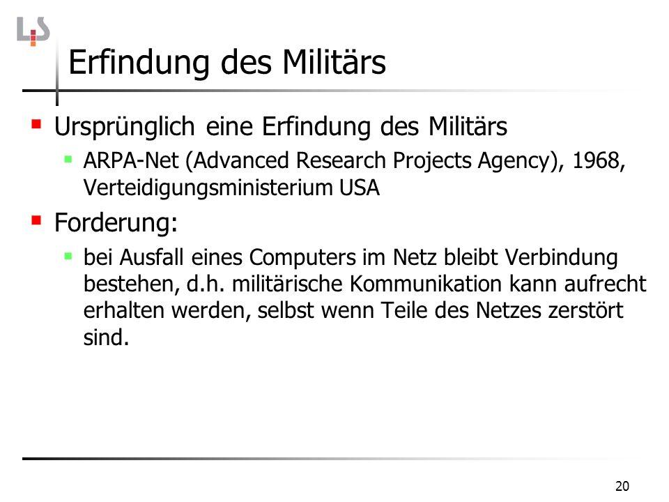 20 Erfindung des Militärs Ursprünglich eine Erfindung des Militärs ARPA-Net (Advanced Research Projects Agency), 1968, Verteidigungsministerium USA Fo
