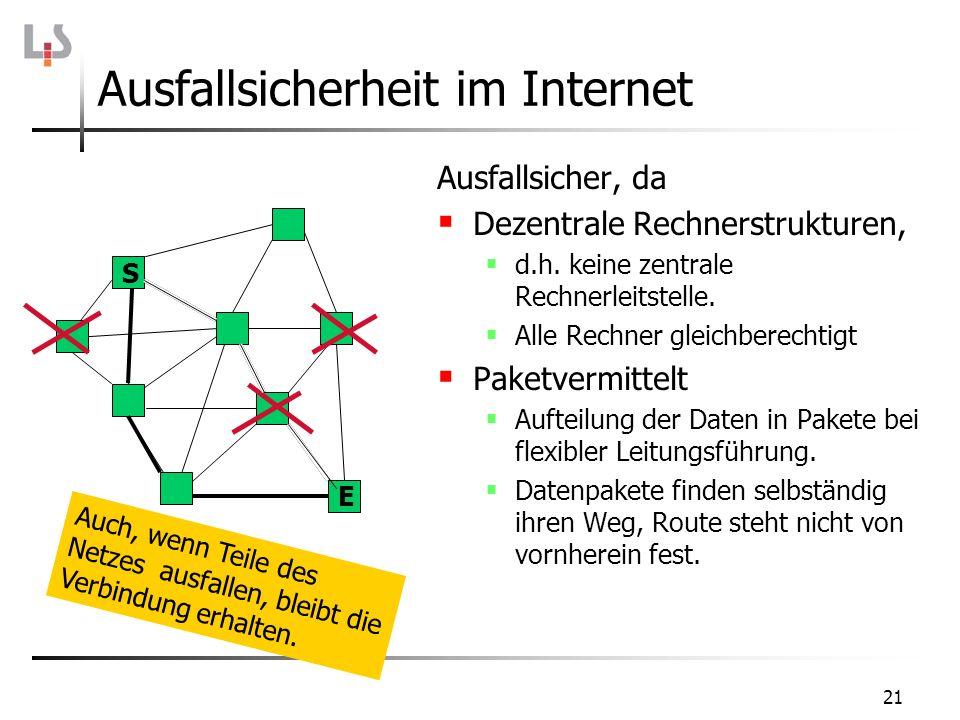 21 Ausfallsicherheit im Internet Ausfallsicher, da Dezentrale Rechnerstrukturen, d.h. keine zentrale Rechnerleitstelle. Alle Rechner gleichberechtigt