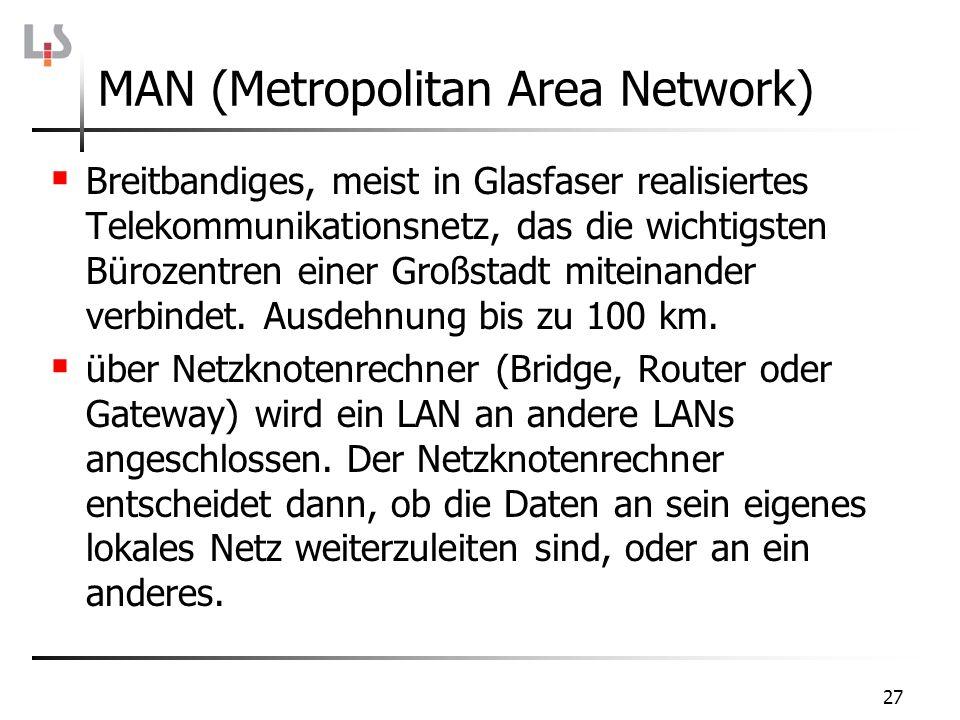 27 Breitbandiges, meist in Glasfaser realisiertes Telekommunikationsnetz, das die wichtigsten Bürozentren einer Großstadt miteinander verbindet. Ausde