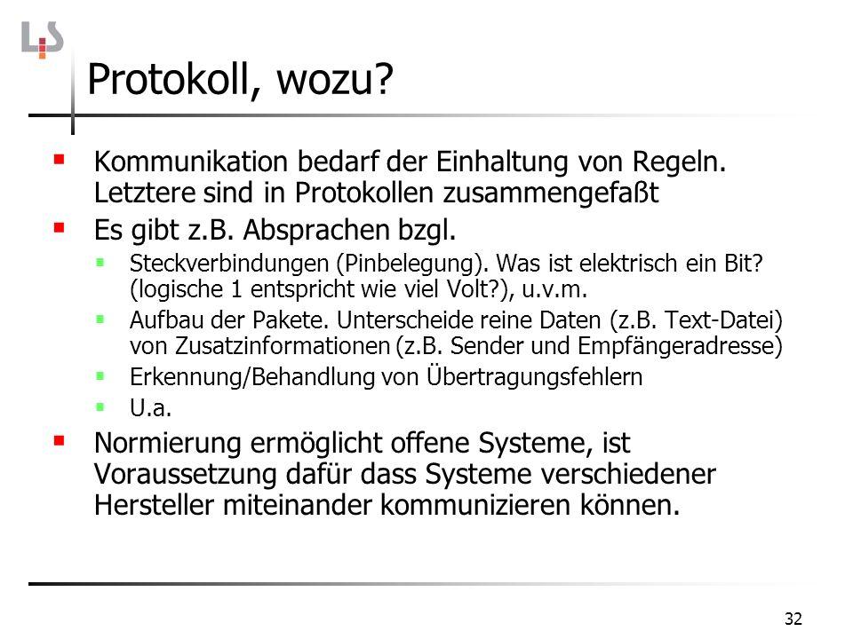 32 Kommunikation bedarf der Einhaltung von Regeln. Letztere sind in Protokollen zusammengefaßt Es gibt z.B. Absprachen bzgl. Steckverbindungen (Pinbel