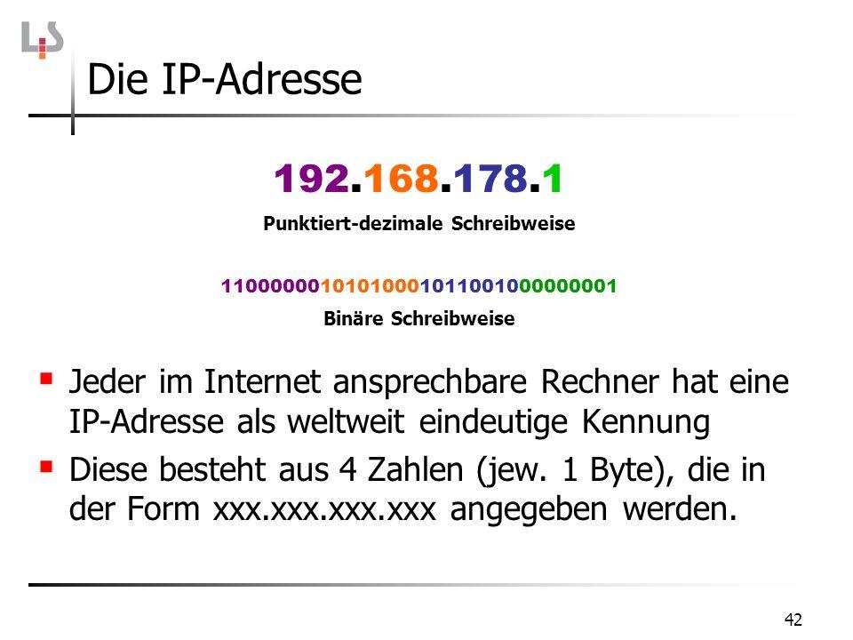 42 Jeder im Internet ansprechbare Rechner hat eine IP-Adresse als weltweit eindeutige Kennung Diese besteht aus 4 Zahlen (jew. 1 Byte), die in der For