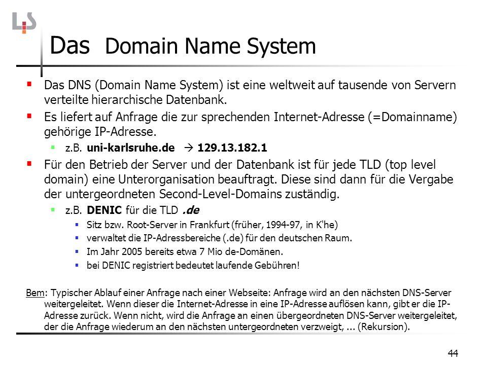 44 Das Domain Name System Das DNS (Domain Name System) ist eine weltweit auf tausende von Servern verteilte hierarchische Datenbank. Es liefert auf An