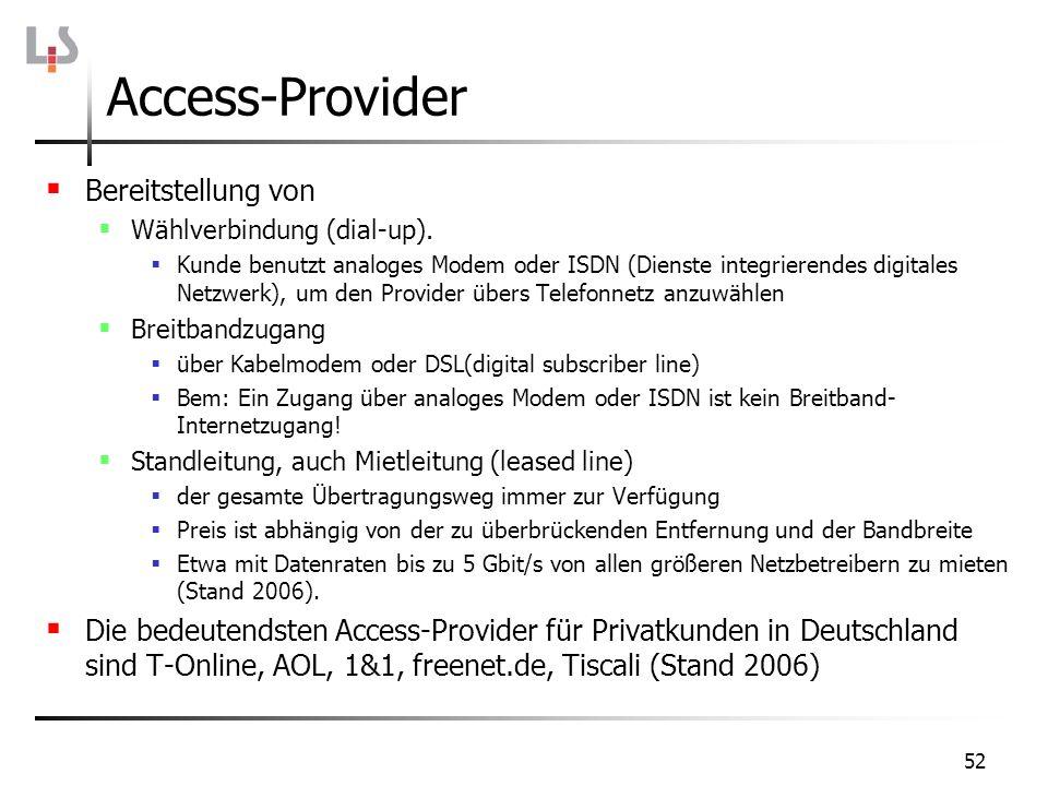 52 Access-Provider Bereitstellung von Wählverbindung (dial-up). Kunde benutzt analoges Modem oder ISDN (Dienste integrierendes digitales Netzwerk), um