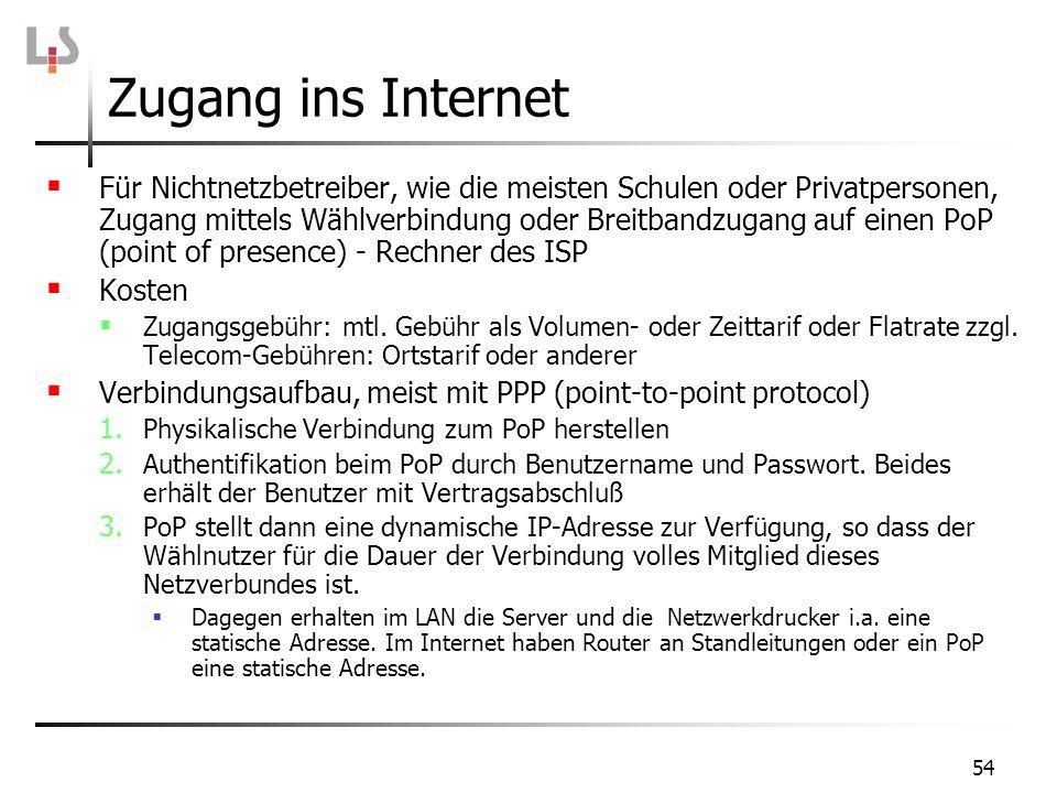 54 Zugang ins Internet Für Nichtnetzbetreiber, wie die meisten Schulen oder Privatpersonen, Zugang mittels Wählverbindung oder Breitbandzugang auf ein