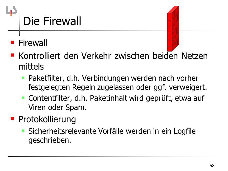 58 Die Firewall Firewall Kontrolliert den Verkehr zwischen beiden Netzen mittels Paketfilter, d.h. Verbindungen werden nach vorher festgelegten Regeln