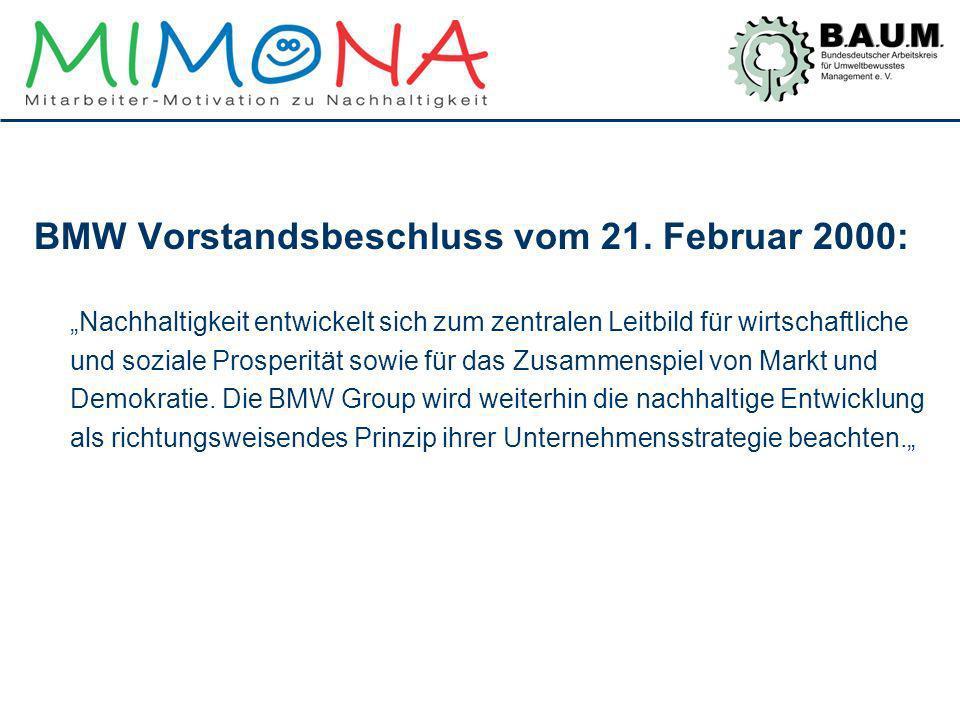 BMW Vorstandsbeschluss vom 21. Februar 2000: Nachhaltigkeit entwickelt sich zum zentralen Leitbild für wirtschaftliche und soziale Prosperität sowie f