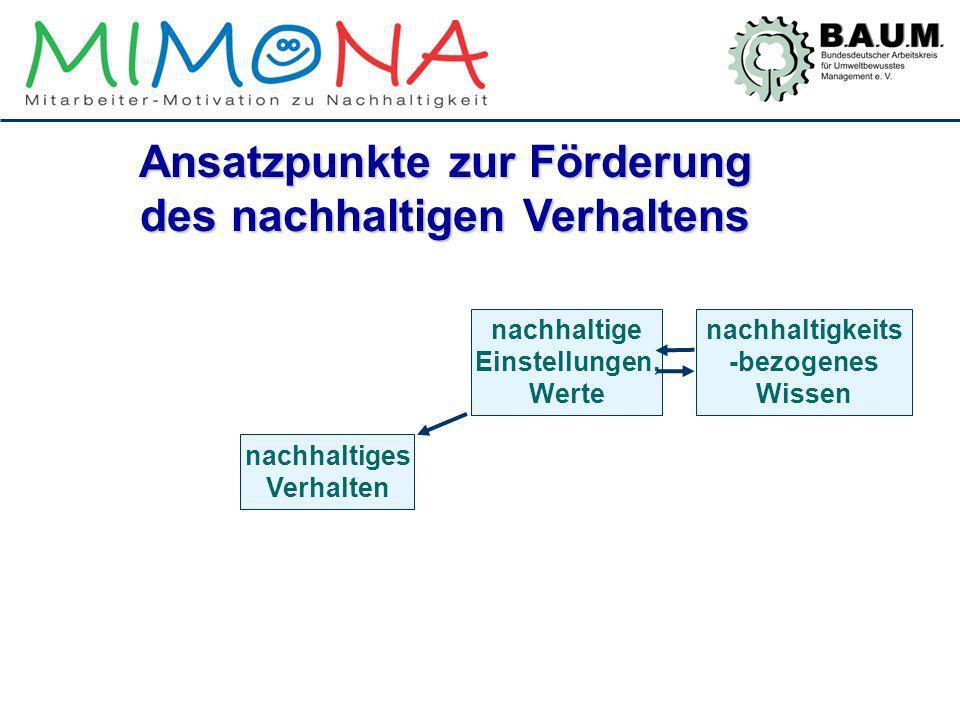 Ansatzpunkte zur Förderung des nachhaltigen Verhaltens nachhaltiges Verhalten nachhaltigkeits -bezogenes Wissen nachhaltige Einstellungen, Werte