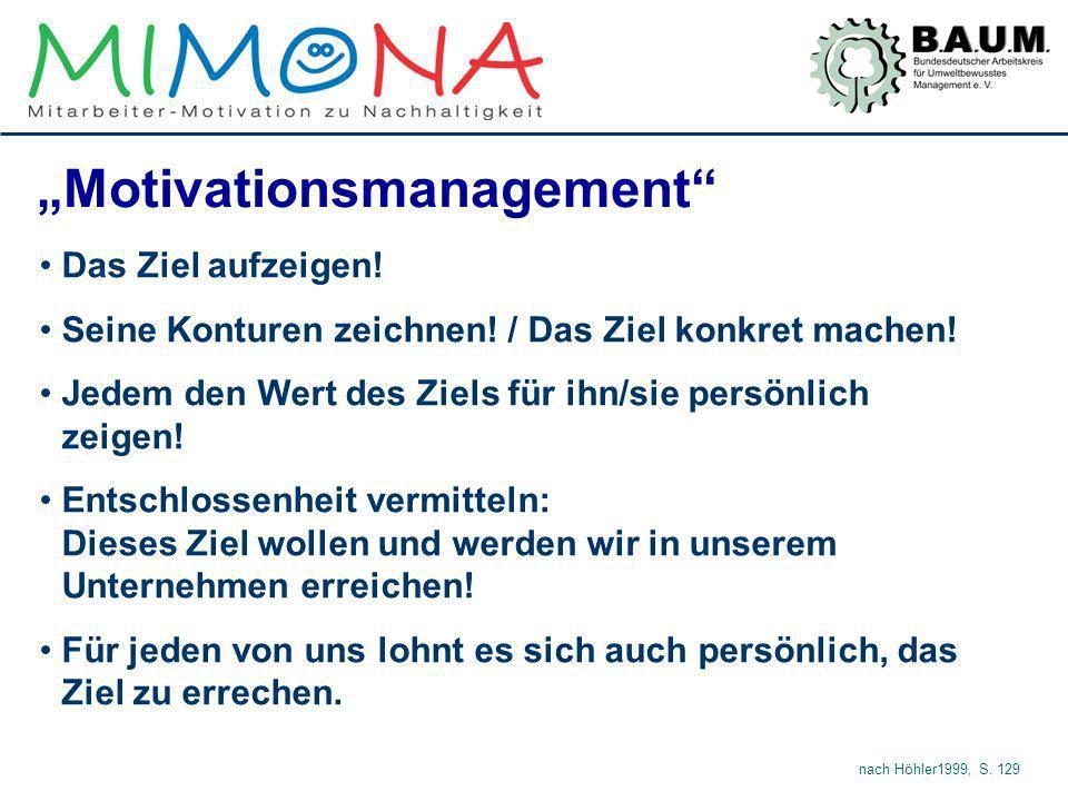Motivationsmanagement Das Ziel aufzeigen! Seine Konturen zeichnen! / Das Ziel konkret machen! Jedem den Wert des Ziels für ihn/sie persönlich zeigen!