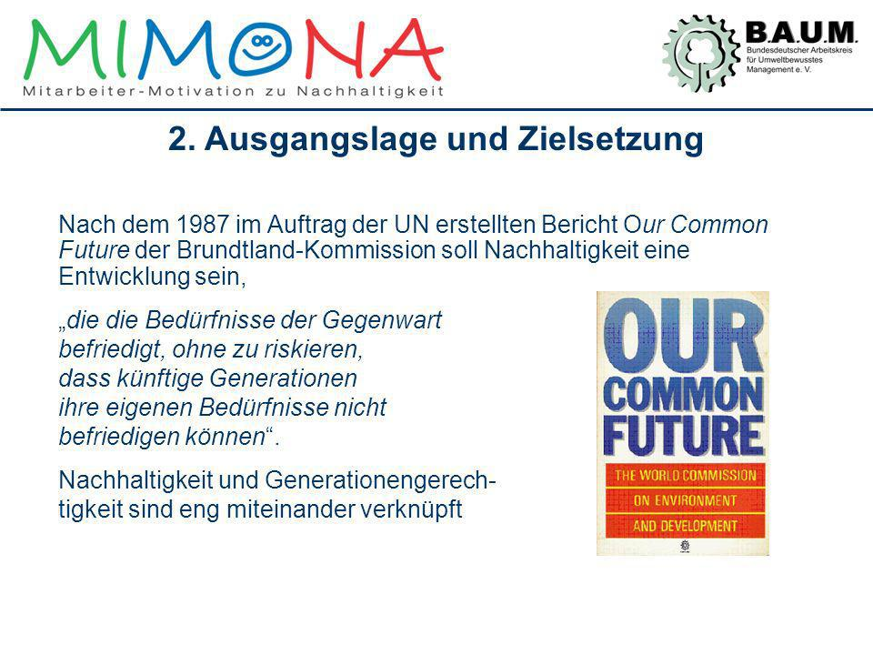 Nach dem 1987 im Auftrag der UN erstellten Bericht Our Common Future der Brundtland-Kommission soll Nachhaltigkeit eine Entwicklung sein, die die Bedü