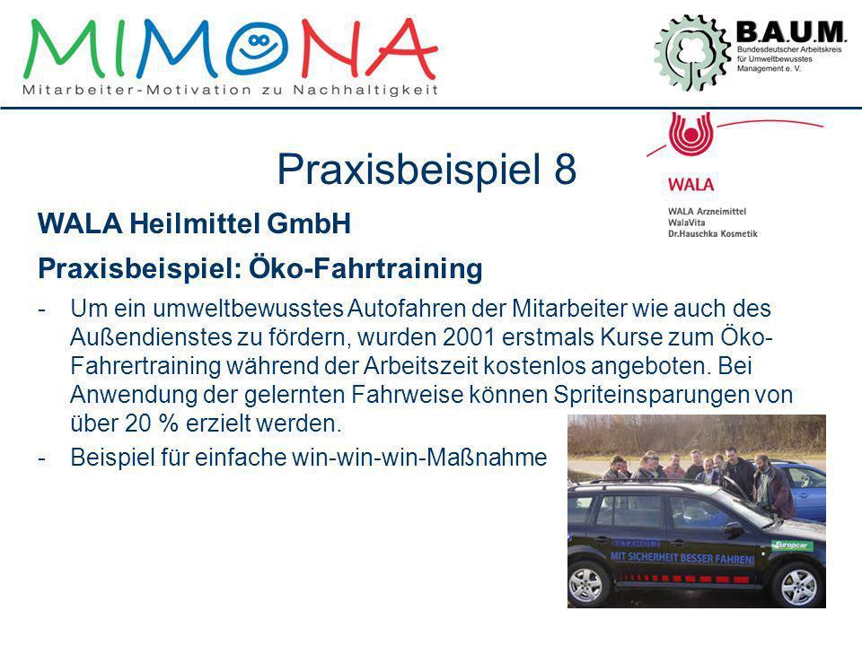 Praxisbeispiel 8 WALA Heilmittel GmbH Praxisbeispiel: Öko-Fahrtraining -Um ein umweltbewusstes Autofahren der Mitarbeiter wie auch des Außendienstes z