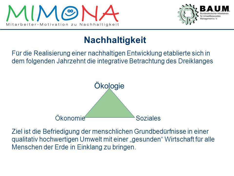 Nachhaltigkeit Für die Realisierung einer nachhaltigen Entwicklung etablierte sich in dem folgenden Jahrzehnt die integrative Betrachtung des Dreiklan