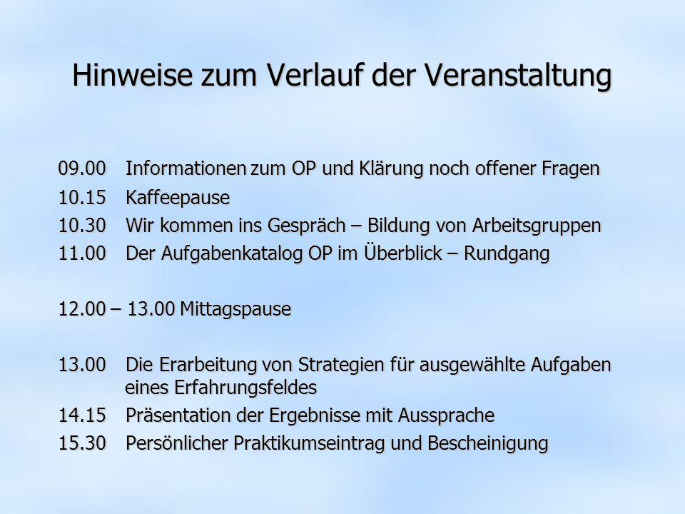 Hinweise zum Verlauf der Veranstaltung 09.00 Informationen zum OP und Klärung noch offener Fragen 10.15Kaffeepause 10.30 Wir kommen ins Gespräch – Bil
