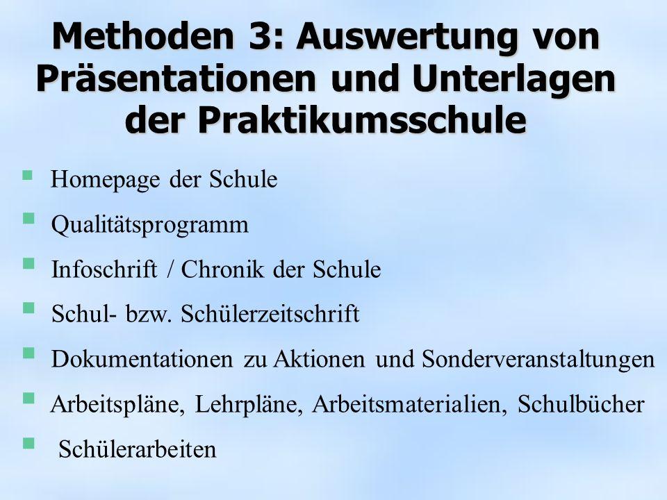 Homepage der Schule Qualitätsprogramm Infoschrift / Chronik der Schule Schul- bzw. Schülerzeitschrift Dokumentationen zu Aktionen und Sonderveranstalt