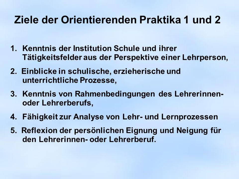 1.Kenntnis der Institution Schule und ihrer Tätigkeitsfelder aus der Perspektive einer Lehrperson, 2. Einblicke in schulische, erzieherische und unter