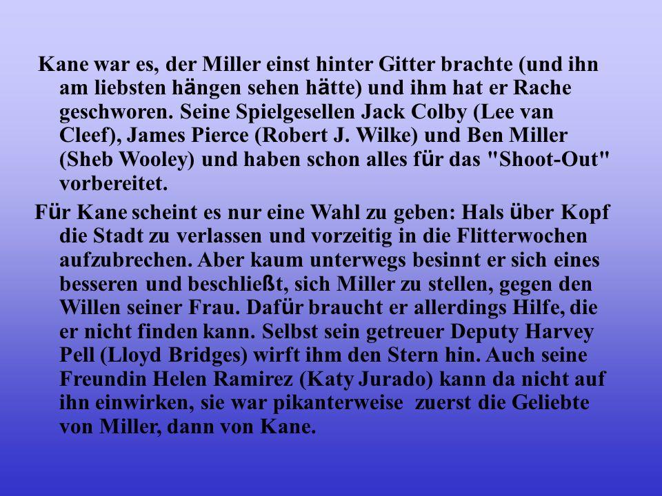 Mitten in die Hochzeit von Sheriff Will Kane (Gary Cooper) und Amy (Grace Kelly) platzt die Nachricht, dass Frank Miller (Ian MacDonald) aus dem Gef ä