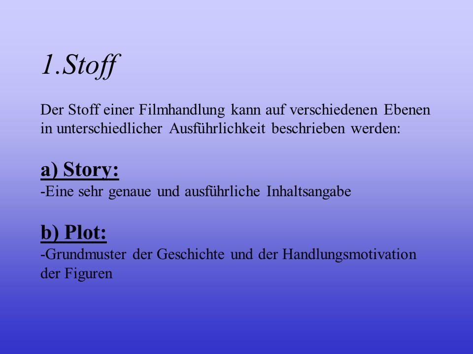 Stoff, Dramaturgie und Erzählform 1.Stoff 2.Dramaturgie 3.Erzählform